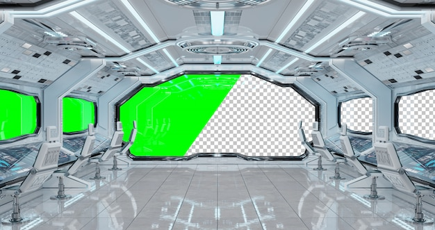 Interior futurista de nave espacial branca com janela cortada
