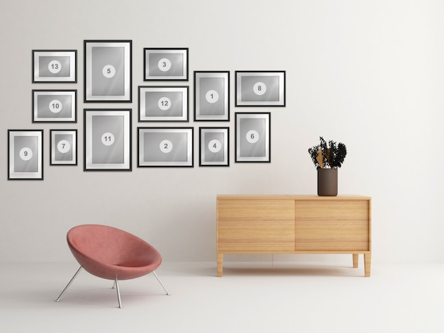 Interior home nórdico com composição de molduras de foto de maquete