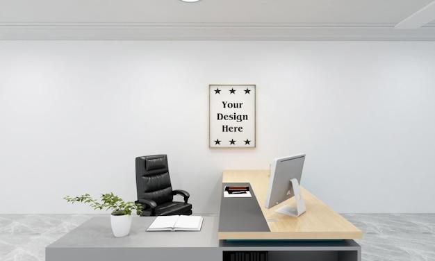 Interior minimalista com maquete de moldura de foto