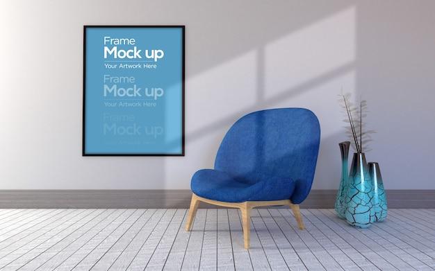 Interior moderna sala de estar com cadeira e moldura maquete
