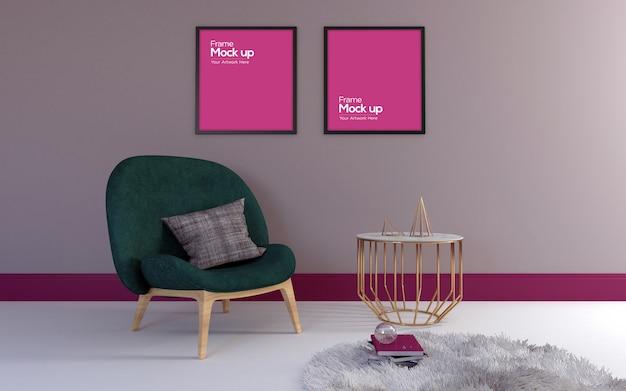 Interior moderna sala de estar com maquete de cadeira, mesa e quadros