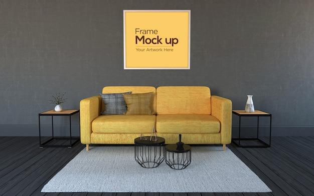 Interior moderna sala de estar com sofá amarelo e maquete de quadros