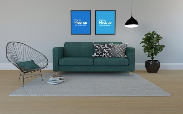 Interior moderna sala de estar com sofá cadeira e maquete de quadros