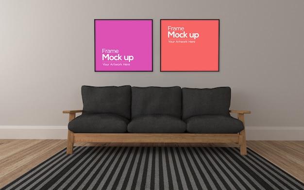 Interior moderna sala de estar com sofá de madeira e maquete de moldura