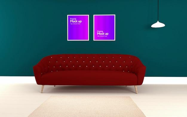 Interior moderna sala de estar com sofá e maquete de dois quadros