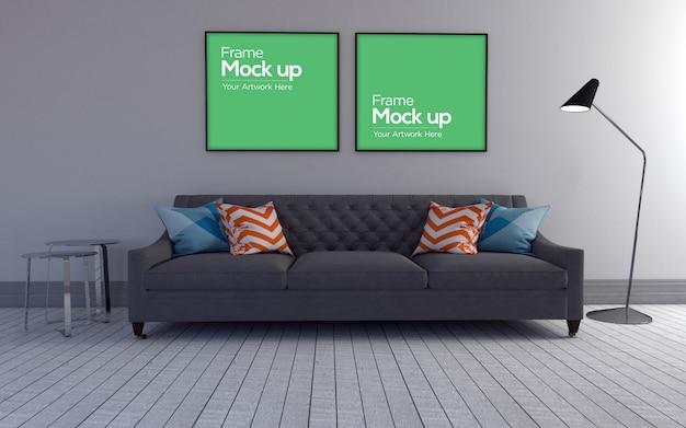 Interior moderna sala de estar com sofá e maquete de quadros