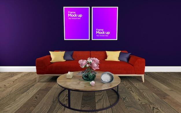 Interior moderna sala de estar com sofá e mesa maquete