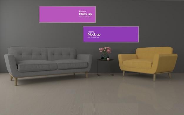Interior moderna sala de estar com sofá e moldura maquete