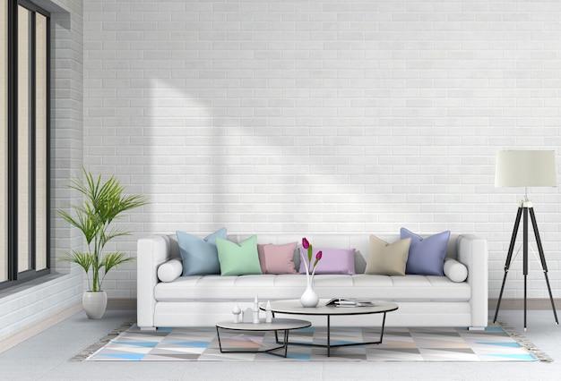 Interior moderna sala de estar com sofá, planta, lâmpada, render 3d