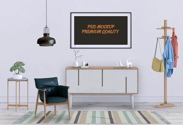 Interior sala de estar com aparador e cartaz em branco de maquete. 3d render