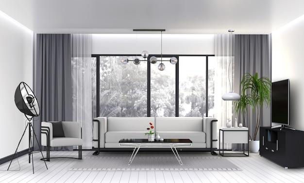 Interior, sala de estar, com, sofá, planta, lâmpada, esperto, tv., 3d, render