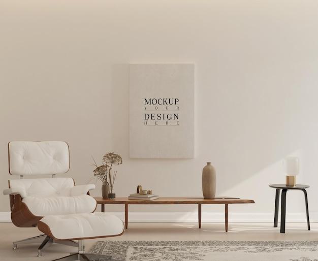 Interior simples com pôster de maquete e poltrona eeames