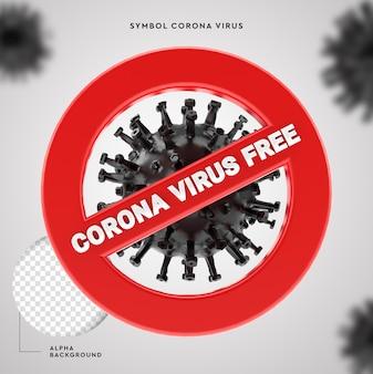 Interrompa a proteção 3d do covid-19 symbol corona virus