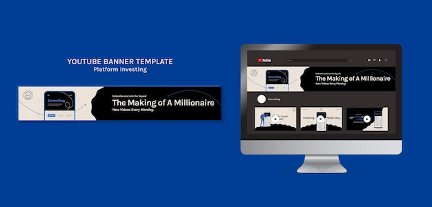 Investimento na plataforma do modelo de banner do youtube