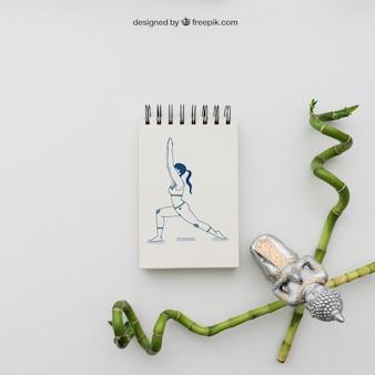 Ioga, pose, desenho, bambu, varas