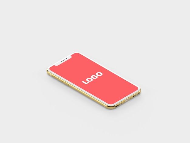 Iphone isométrico de ouro x mockup
