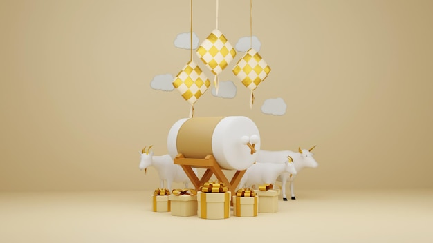 Islamic-display-decoration-composition-with-3d-traditional-bedug-drum-gift-box-and-arabic-lanterns