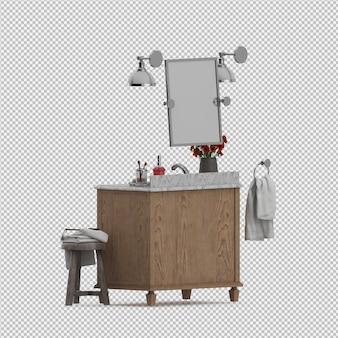 Isometric bathroom accessories 3d isolated renderização