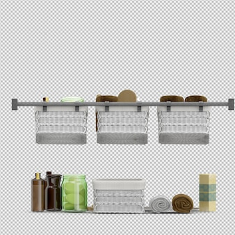 Isometric bathroom accessories 3d isolated renderização
