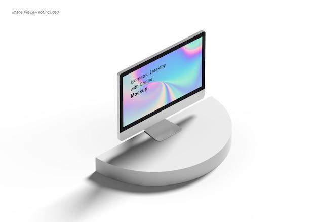 Isometric desktop com shape mockup