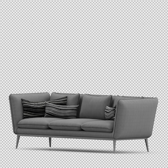 Isometric sofa 3d isolated render