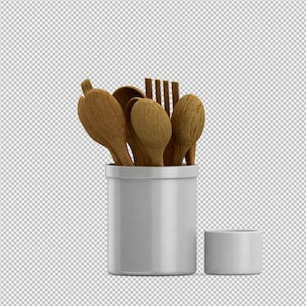 Isométrica cozinha utensílios 3d render