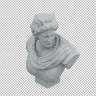 Isométrica estátua 3d isolado render