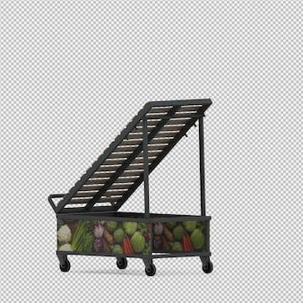 Isométrica stand vazio mercado 3d render