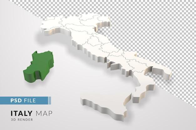 Itália mapeia uma renderização 3d isolada com regiões italianas da sardenha