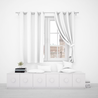 Janela com cortinas brancas e móveis minimalistas