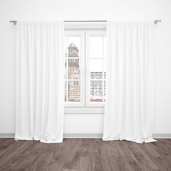 Janela com cortinas brancas, sala em branco com piso de madeira
