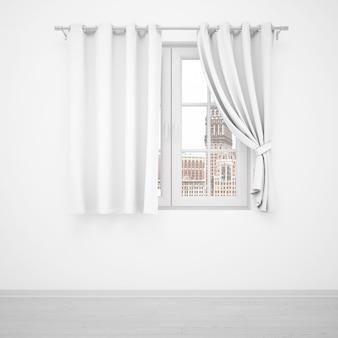 Janela elegante com cortinas brancas na parede branca