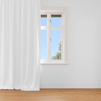 Janela fechada com cortina branca