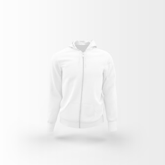 Jaqueta branca flutuando em branco
