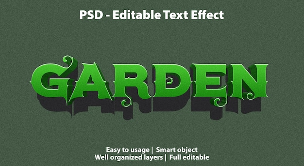 Jardim de efeito de texto editável