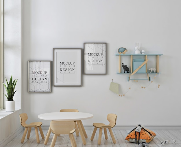 Jardim de infância branco com maquete de quadro de pôster