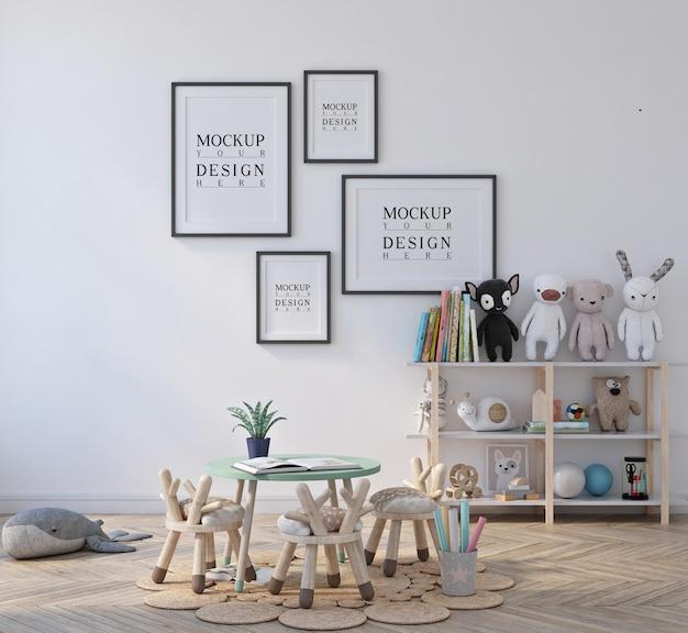 Jardim de infância de sala de aula para crianças fofas com maquete emoldurada de pôster