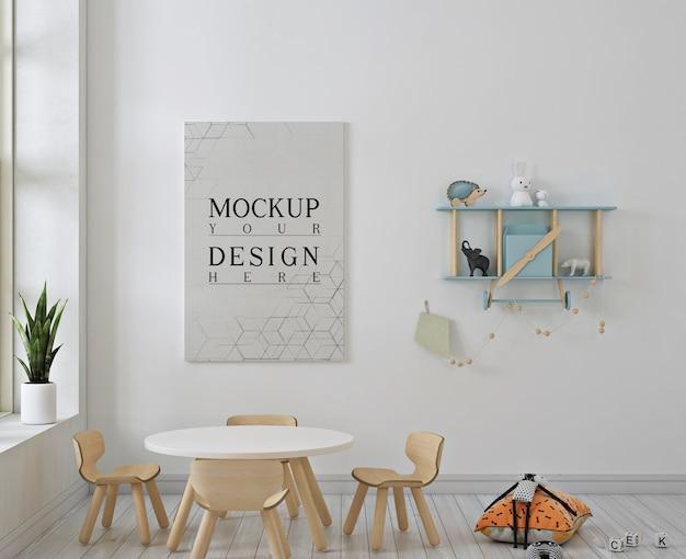Jardim de infância moderno com maquete de pôster