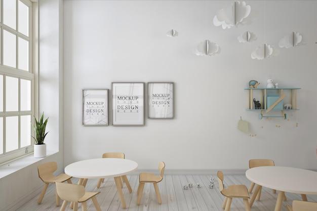 Jardim de infância moderno com maquete de quadro de pôster