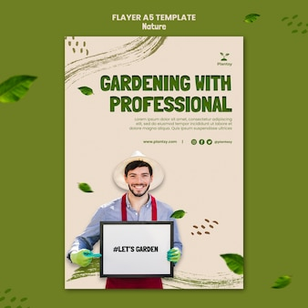 Jardinagem com modelo de folheto profissional