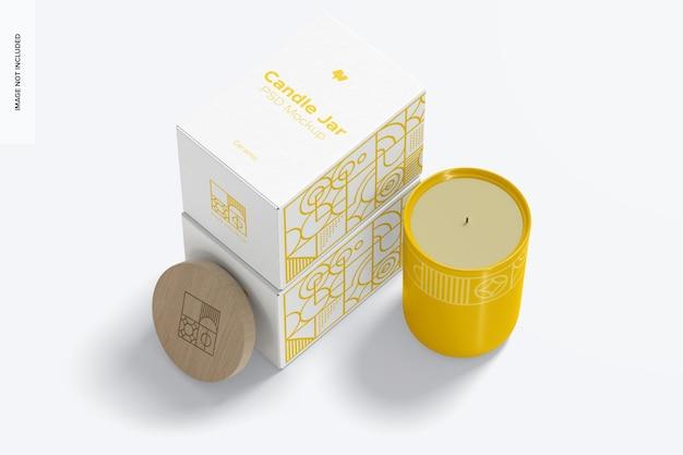 Jarra de vela de cerâmica com maquete de caixas, vista em perspectiva