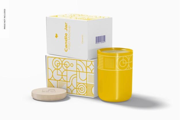 Jarra de vela de cerâmica com maquete de caixas, vista lateral