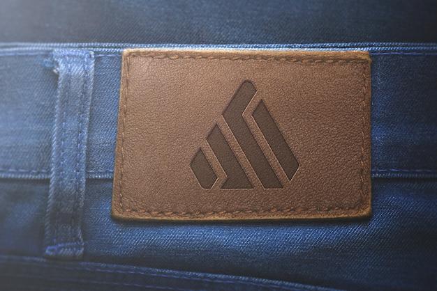 Jeans de etiqueta de maquete de logotipo