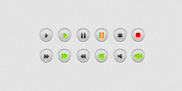 Jogador botões simples e minimalista