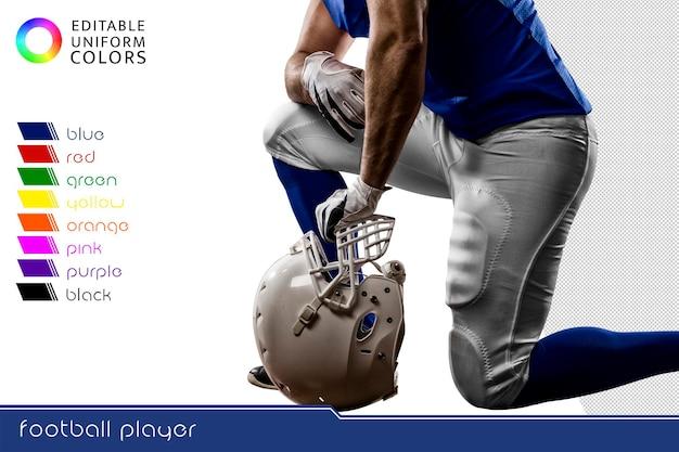 Jogador de futebol americano com vários uniformes coloridos recortados