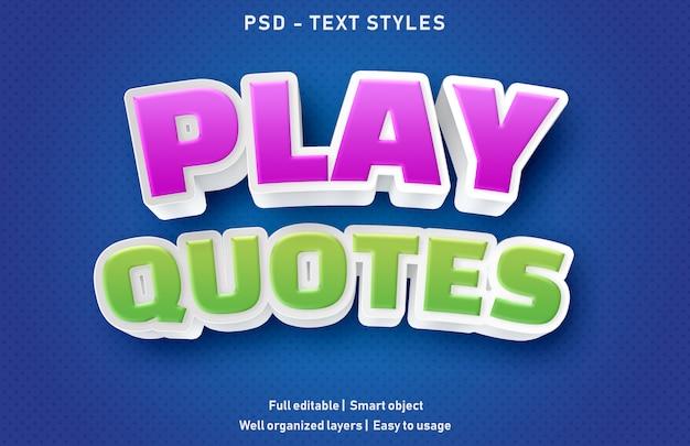 Jogar aspas efeitos de texto estilo premium editável