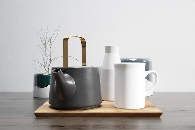 Jogo de chá na bandeja de madeira
