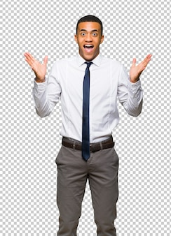 Jovem, afro americano, homem negócios, com, surpresa, e, chocado, expressão facial