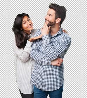 Jovem casal pensando em alguma coisa