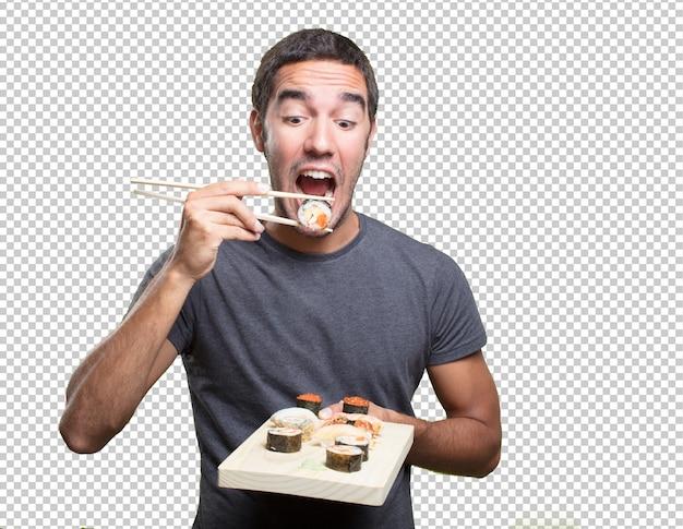 Jovem, comer, sushi